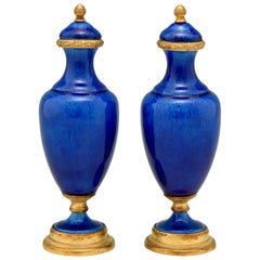 Pair of Blue Ceramic and Bronze Vases or Urns Paul Milet for Sèvres, circa 1900