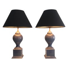 Pair of Blue Ceramic Baluster Table Lamps, French, circa 1970