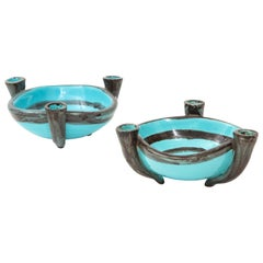 Pair of Blue Ceramic Candelabra Cups, Vallauris, France, circa 1955
