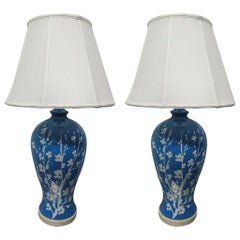Pair of Blue Ceramic Floral Lamps