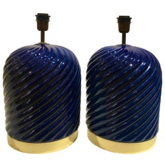 Pair of Blue Ceramic Spiral Table Lamps Designed by Tommaso Barbi, Italy