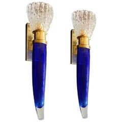 Two Pairs of Blue & Clear Mid-Century Modern Murano Glass Sconces, Seguso style
