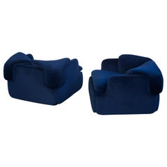 "Pair of Blue ""Confidential"" Lounge Chairs by Alberto Rosselli for Saporiti, 1972"