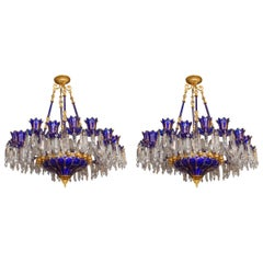 Pair of Blue Crystal Chandeliers, 18 Lights, Italian Work