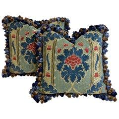 Pair of Blue Cut Velvet Cushions with Onion Tassle Fringe