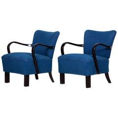 Pair of Blue Czech Art Deco Beech Armchairs, 1930s, Jindrich Halabala, UP Zavody