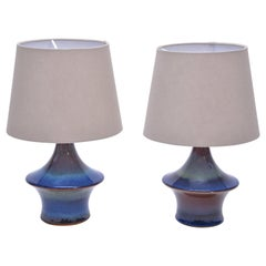 Pair of Blue Danish Mid-Century Modern table lamps by Soholm