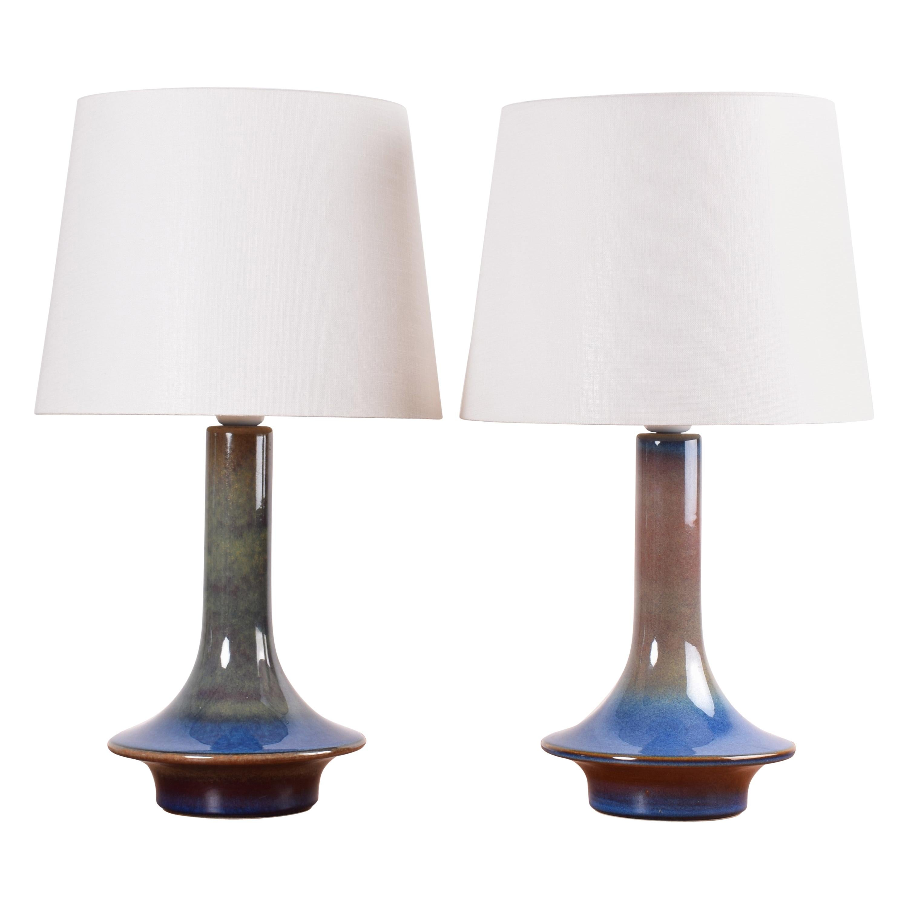 Pair of Blue Danish Modern Sculptural Ceramic Table Lamps from Søholm, 1960s