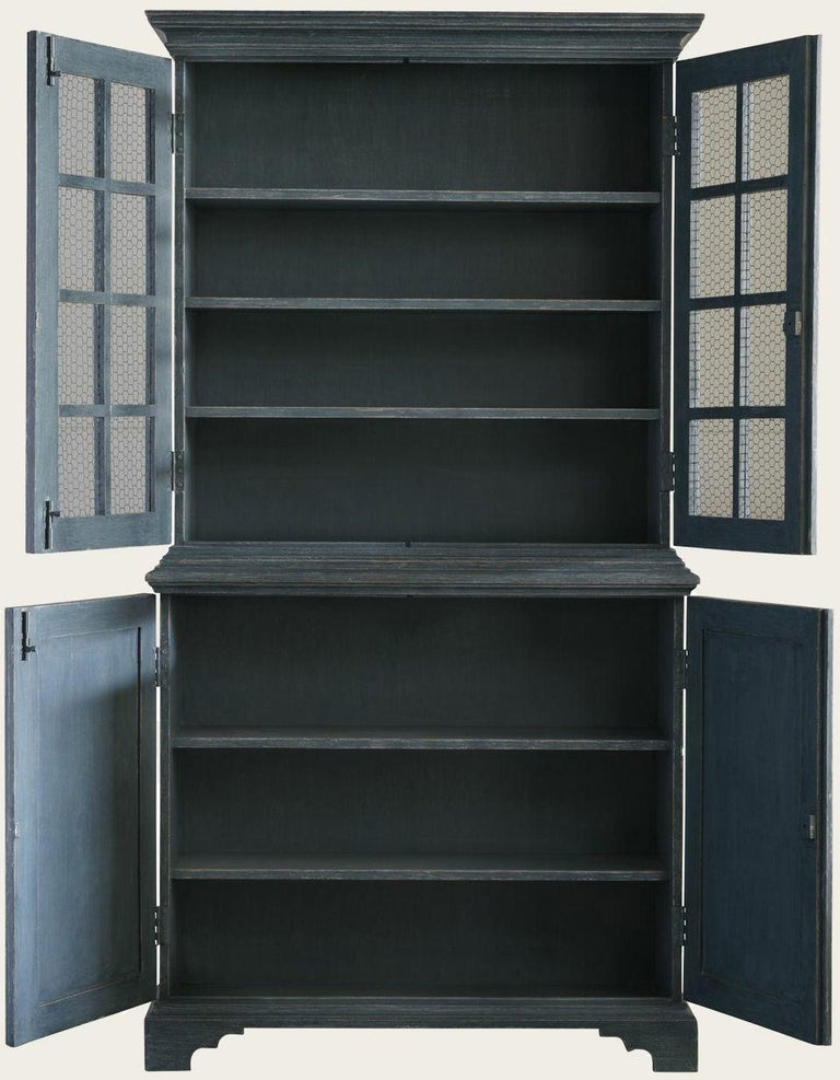 Unknown Pair of Blue, Distressed Painted Bookcases, Gustavian Style with Chicken Wire For Sale