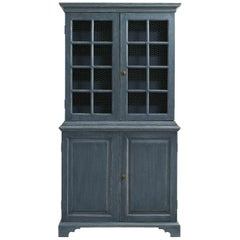 Pair of Blue, Distressed Painted Bookcases, Gustavian Style with Chicken Wire