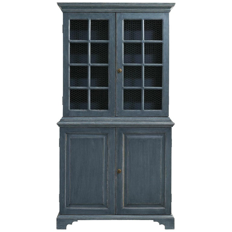 Pair of Blue, Distressed Painted Bookcases, Gustavian Style with Chicken Wire For Sale