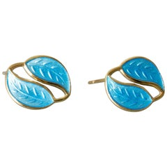 Pair of Blue Enamel Earrings from David Andersen, Norway, 1950s