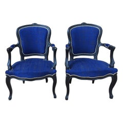 Pair of Blue Fabric and Black Wood Louis XV Style Cabriolet Chairs, 1940s