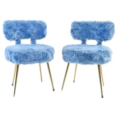 Pair of Blue Faux Fur Side Chairs with Brass Legs