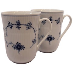 Pair of Blue Fluted Cups No 497 by Royal Copenhagen