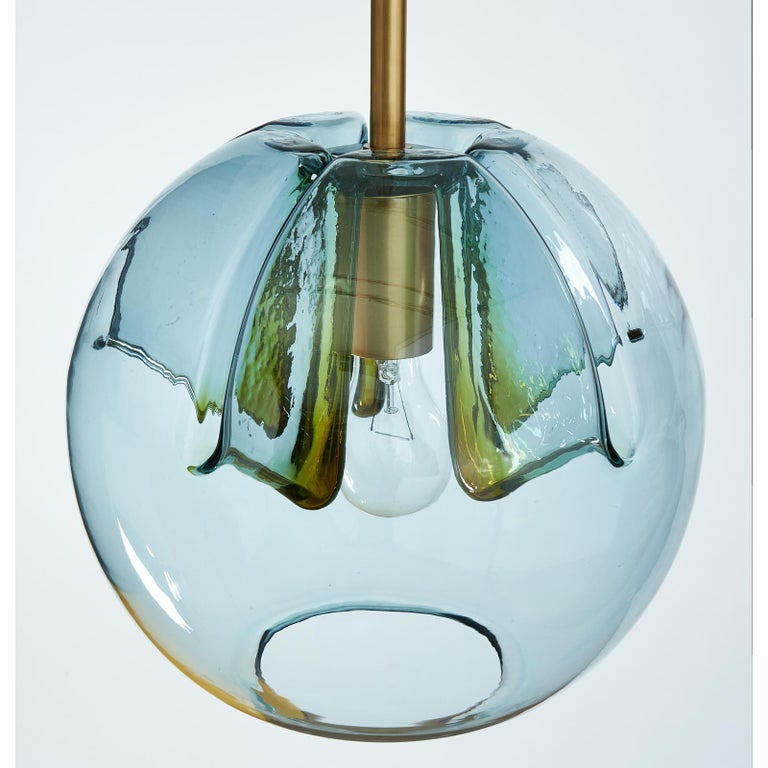 Pair of Blue Glass Pendant Lanterns In Good Condition For Sale In New York, NY