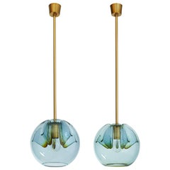 Pair of Blue Glass Pendant Lanterns