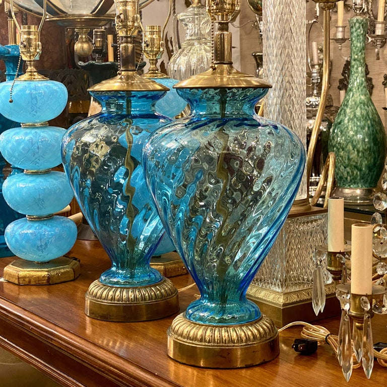 Italian Pair of Blue Glass Table Lamps For Sale