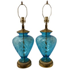 Pair of Blue Glass Table Lamps