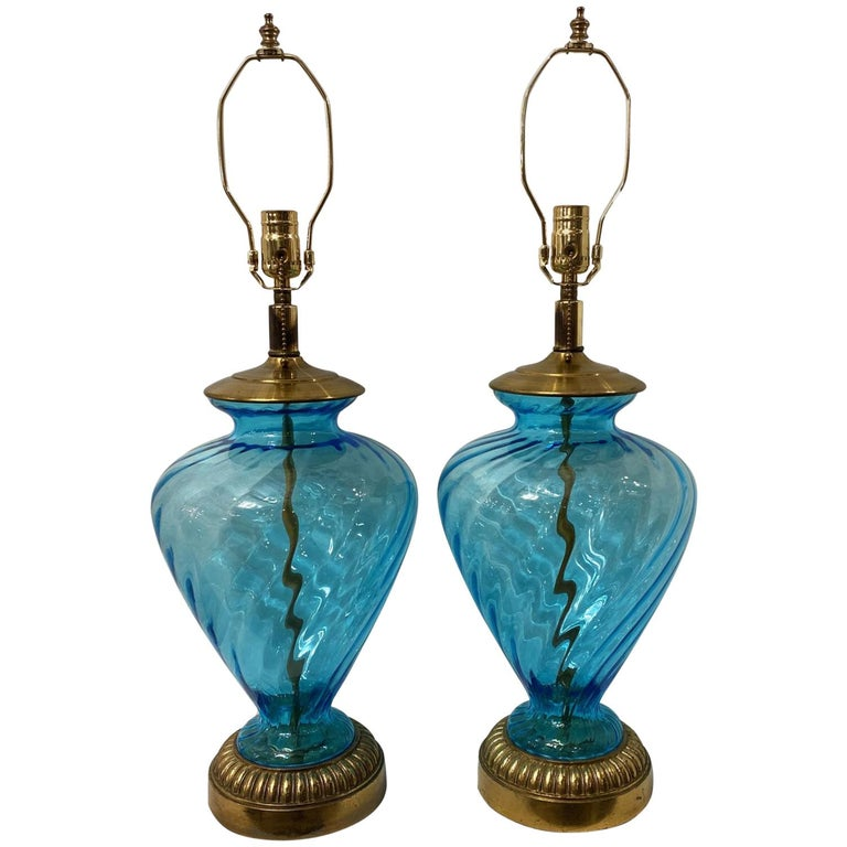 Pair of Blue Glass Table Lamps For Sale