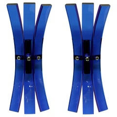 Pair of Blue Glass Wall Sconces by Veca