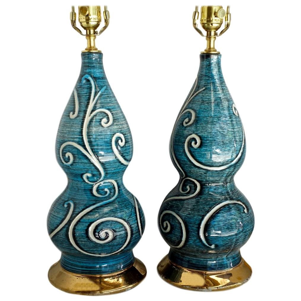 Pair of Blue-Glazed French Porcelain Lamps
