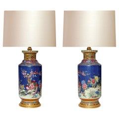 Pair of Blue Glazed Porcelain Lamps
