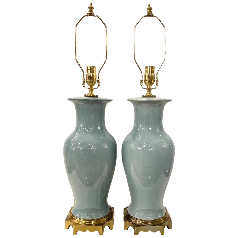 Pair of Blue Glazed Porcelain Table Lamps