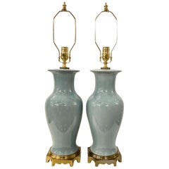 Pair of Blue Glazed Porcelain Table Lamps