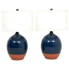 Pair of Blue Glazed Terracotta Lamps