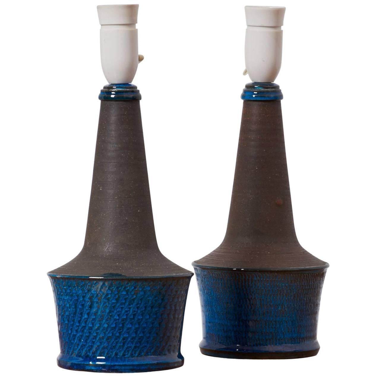 Pair of  Blue / Gray Table Lamps by Nils Kähler, Denmark, 1960s