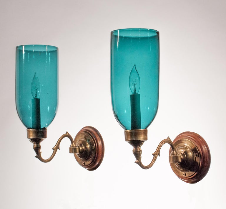 brand new add53 a1220 Pair of Blue Green Teal Hurricane Shade Wall Sconces