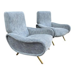 "Pair of Blue Grey ""Lady"" Armchairs by Marco Zanuso, Italy, 1951"
