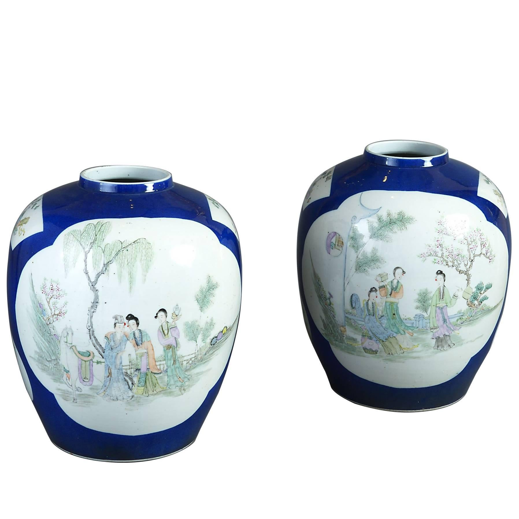 Pair of Blue Ground Famille Rose 19th Century Porcelain Jar Vases