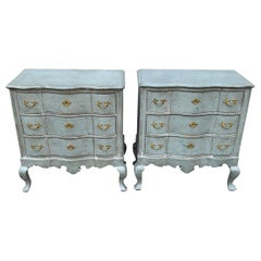 Pair of Blue Gustavian Style Painted Rococo Style Chests of Drawers