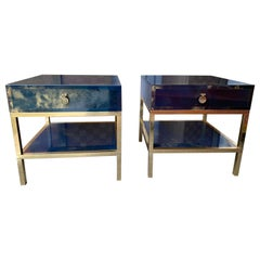 Pair of Blue Lacquered and Brass Side Tables by Maison Jansen. France, 1970s