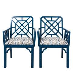 Pair of Blue Lacquered Open Arm Garden Chairs