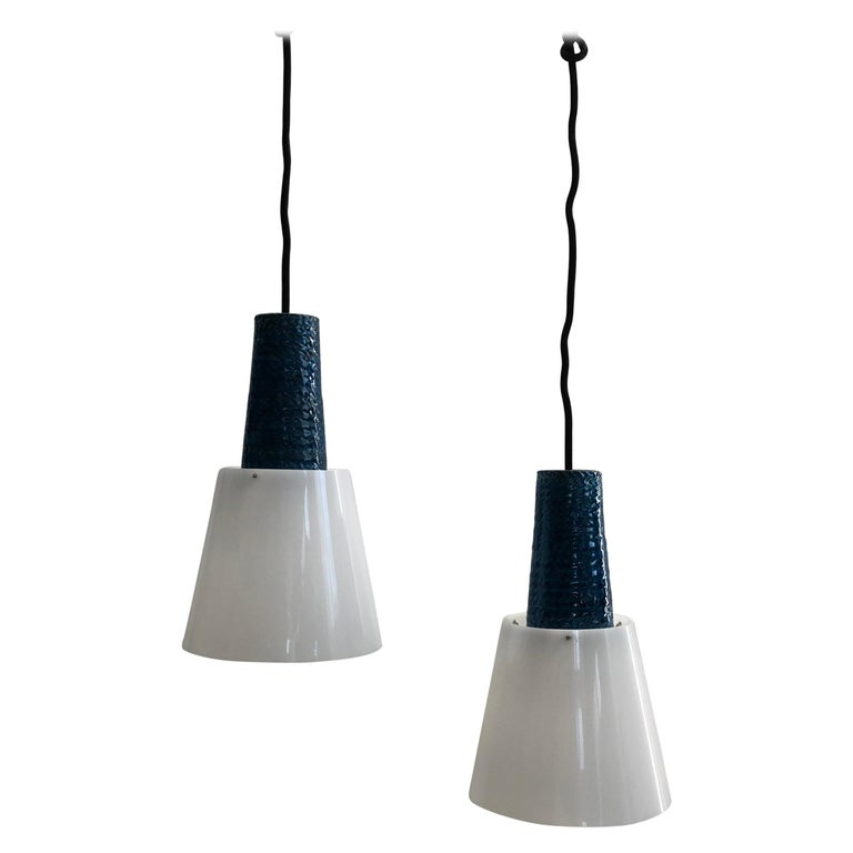 Pair of Blue Lamps from Kähler, 1960s For Sale