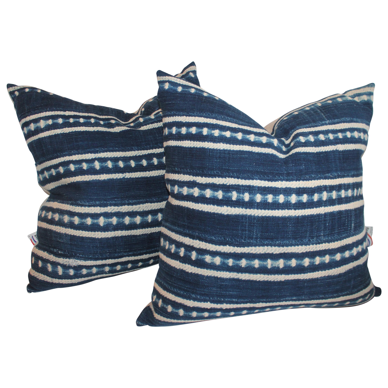 Pair of Blue Linen Stripe Pillows