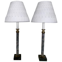 Pair of Blue Marbleized Paper Candlestick Lamps with Lampshades