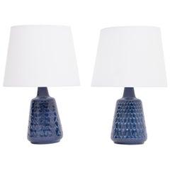 Pair of Blue Mid-Century Modern Stoneware lamps by Einar Johansen for Søholm