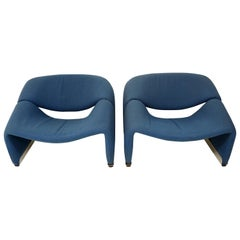 Pair of Blue Midcentury Groovy Chairs F598 by Pierre Paulin for Artifort