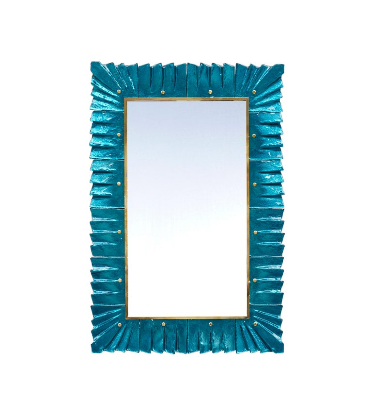 Pair of beautiful mirrors with frame made of sculpted blue Murano glass. Creation by Studio Glustin. Price for the pair.