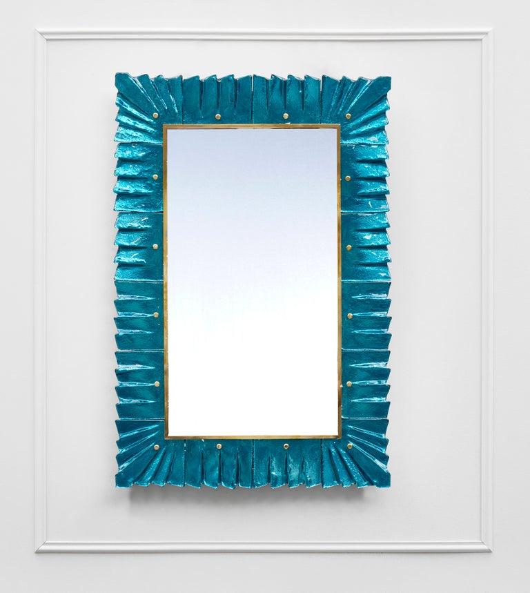 Mid-Century Modern Pair of Blue Mirrors by Studio Glustin For Sale