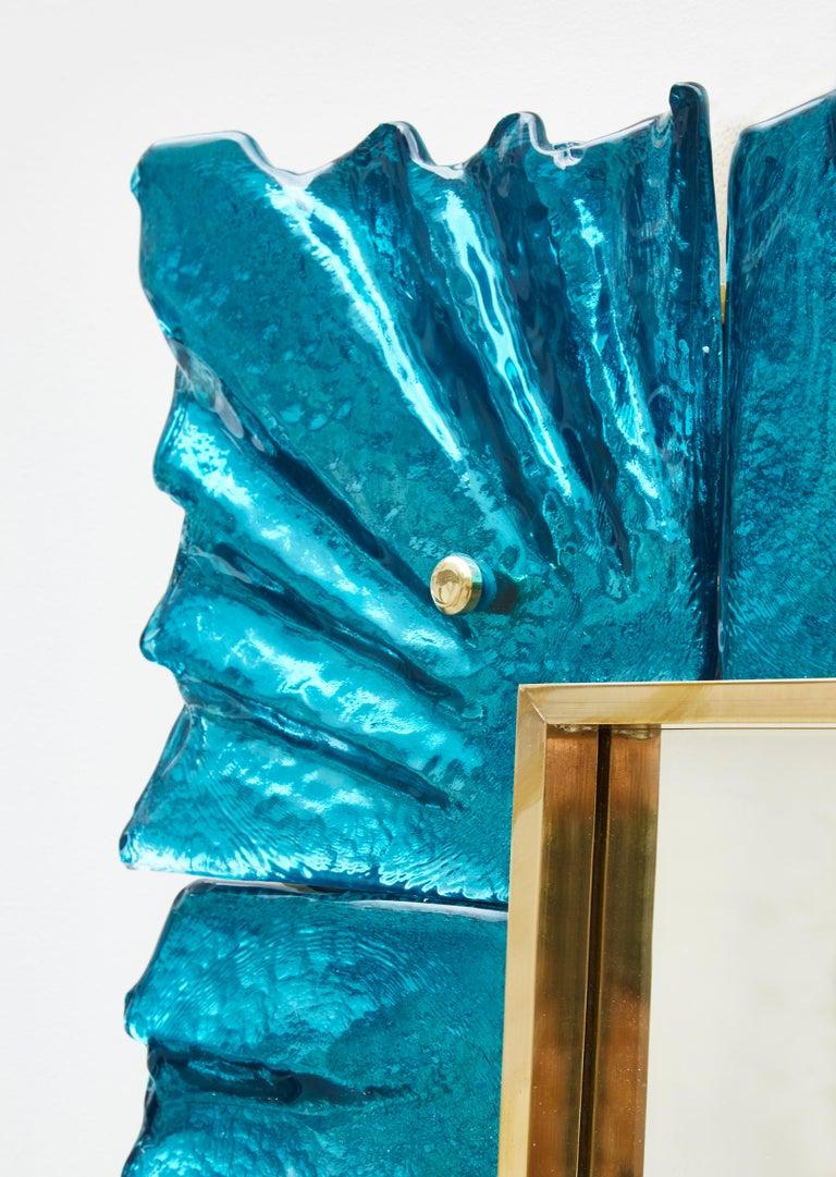 Italian Pair of Blue Mirrors by Studio Glustin For Sale