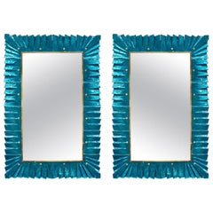 Pair of Blue Mirrors by Studio Glustin