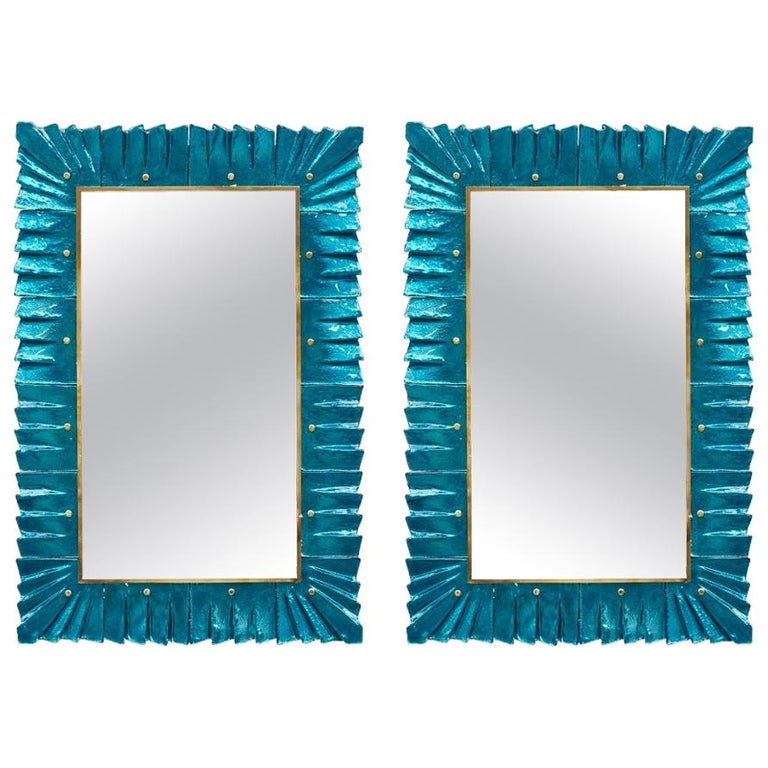 Pair of Blue Mirrors by Studio Glustin For Sale