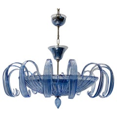 Pair of Blue Murano Glass Chandeliers, Sold Individually