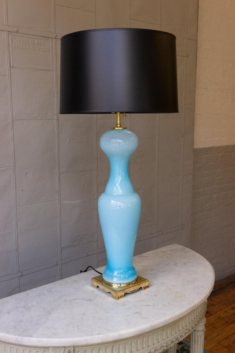 Mid-Century Modern Pair of Blue Murano Glass Lamps For Sale