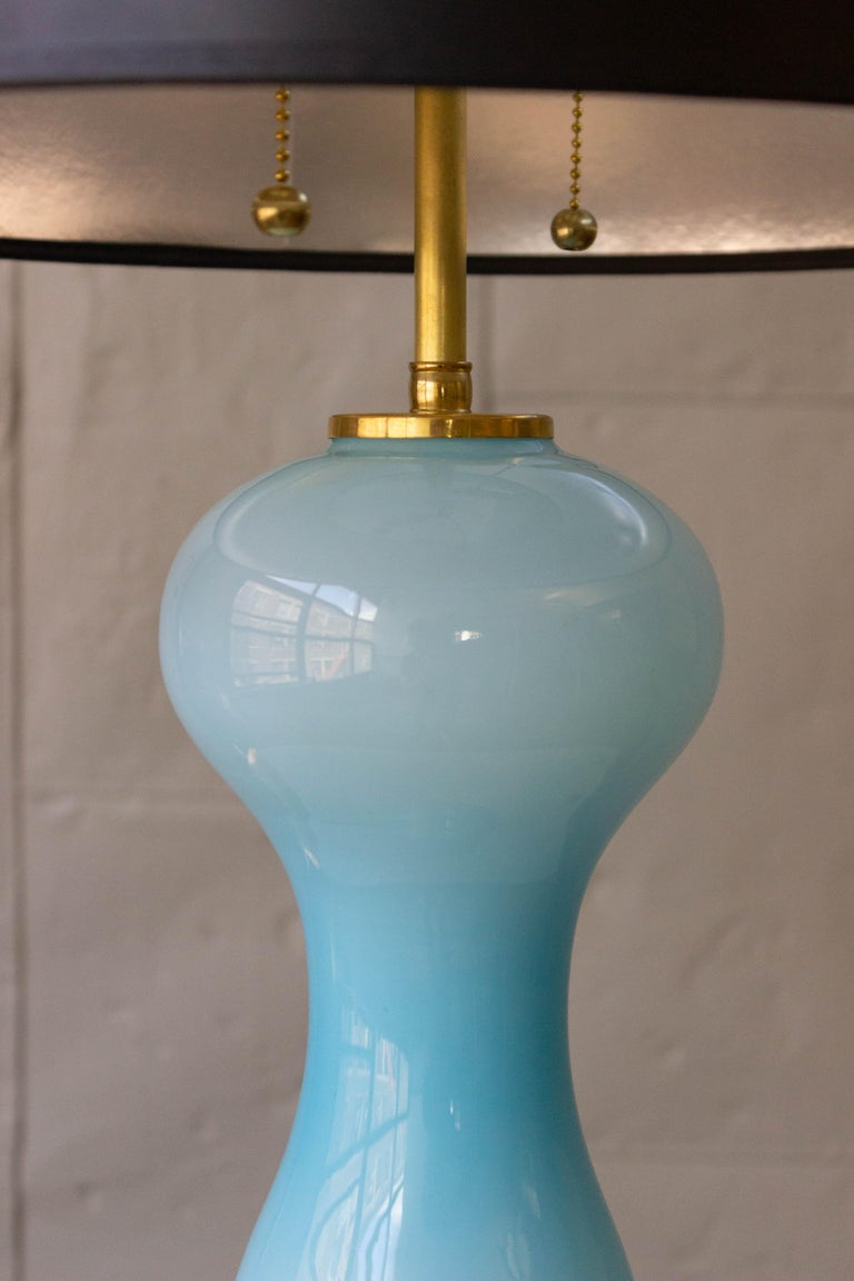 Pair of Blue Murano Glass Lamps In Good Condition For Sale In Buchanan, NY